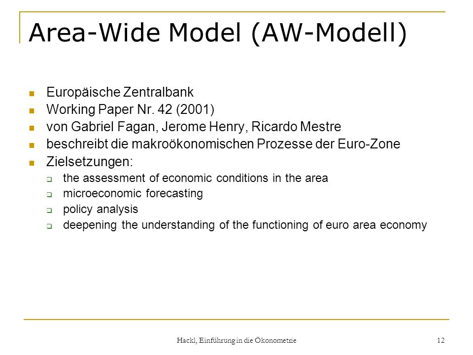 Area-Wide Model (AW-Modell)