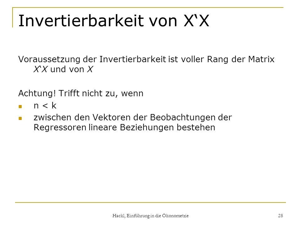 Invertierbarkeit von X'X