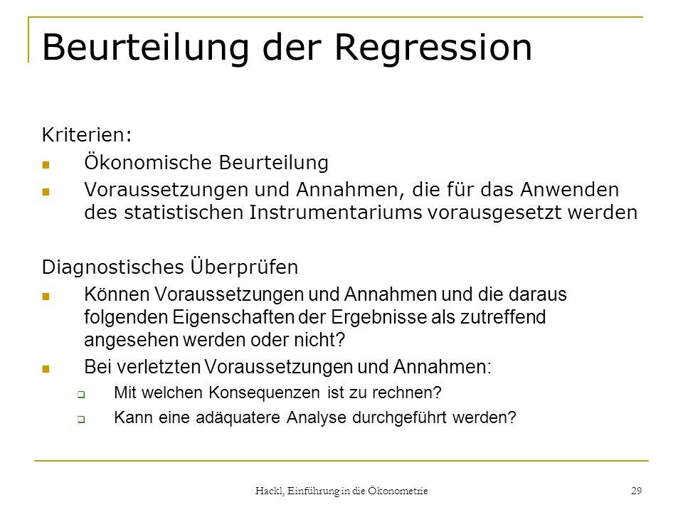 Beurteilung der Regression
