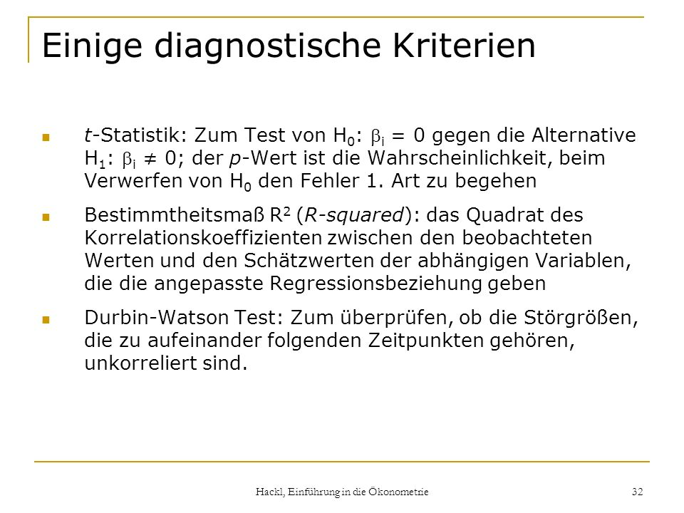 Einige diagnostische Kriterien