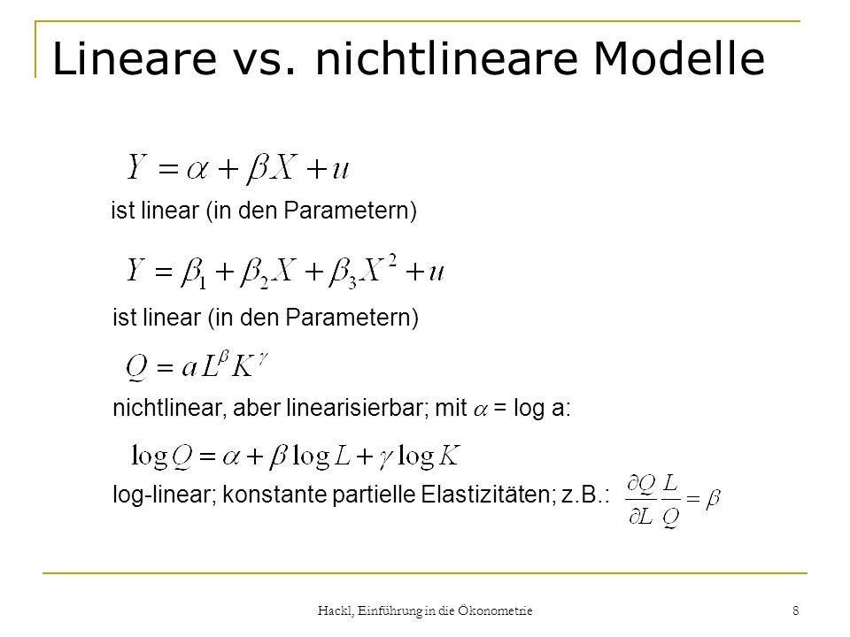 Lineare vs. nichtlineare Modelle