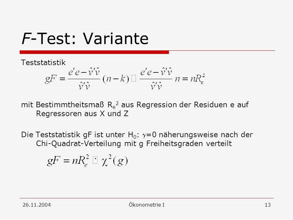 F-Test: Variante Teststatistik