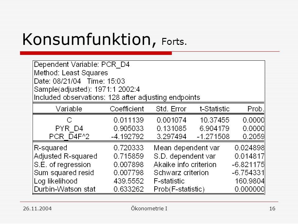 Konsumfunktion, Forts. 26.11.2004 Ökonometrie I