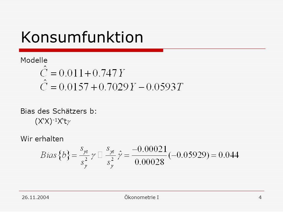 Konsumfunktion Modelle Bias des Schätzers b: (X'X)-1X'tg Wir erhalten