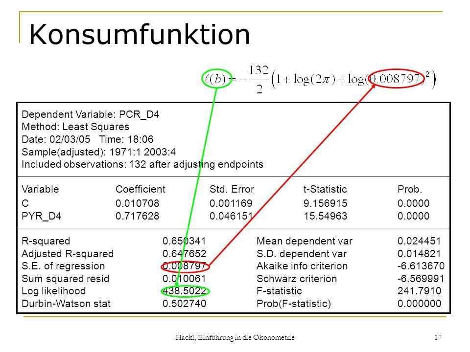 Hackl, Einführung in die Ökonometrie
