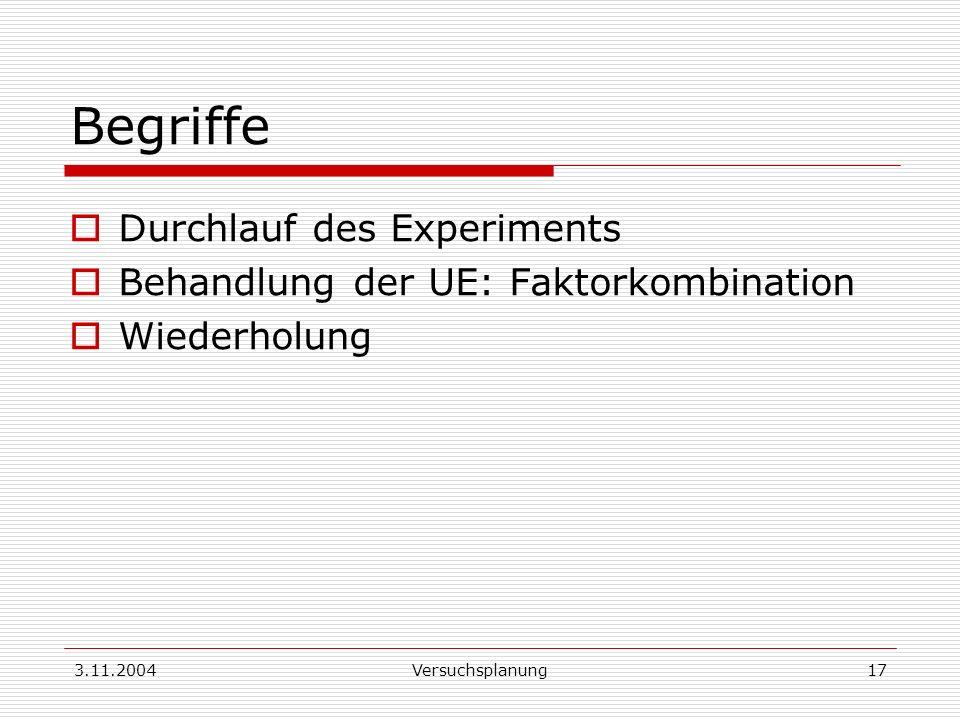 Begriffe Durchlauf des Experiments