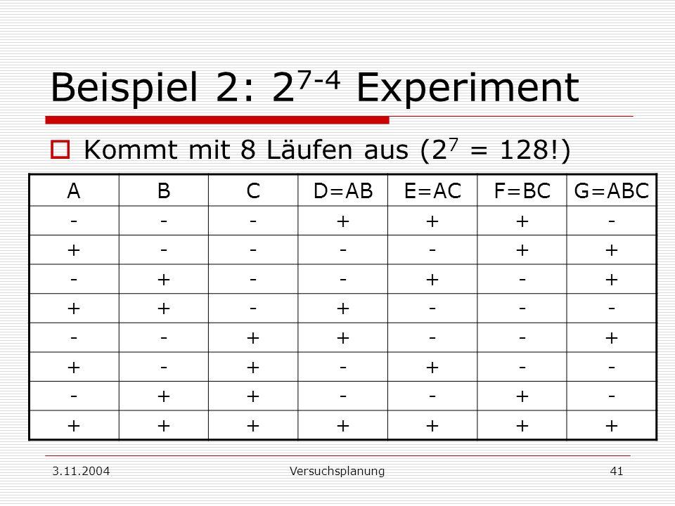 Beispiel 2: 27-4 Experiment
