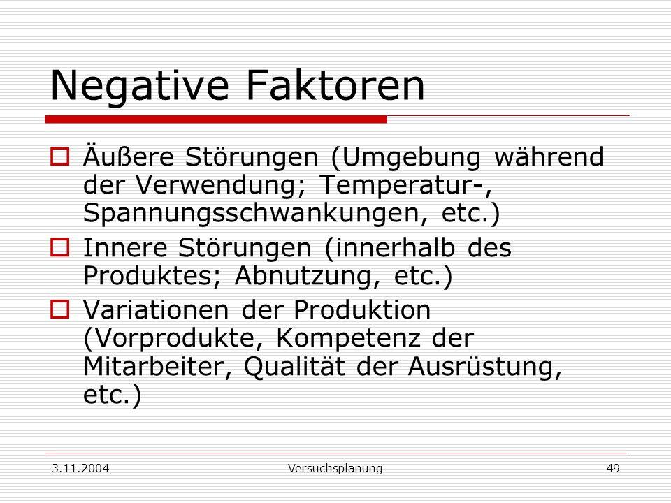 Negative Faktoren Äußere Störungen (Umgebung während der Verwendung; Temperatur-, Spannungsschwankungen, etc.)