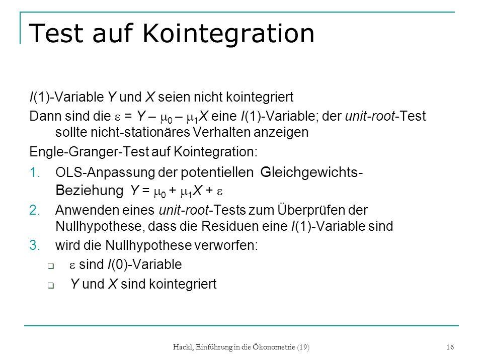 Test auf Kointegration