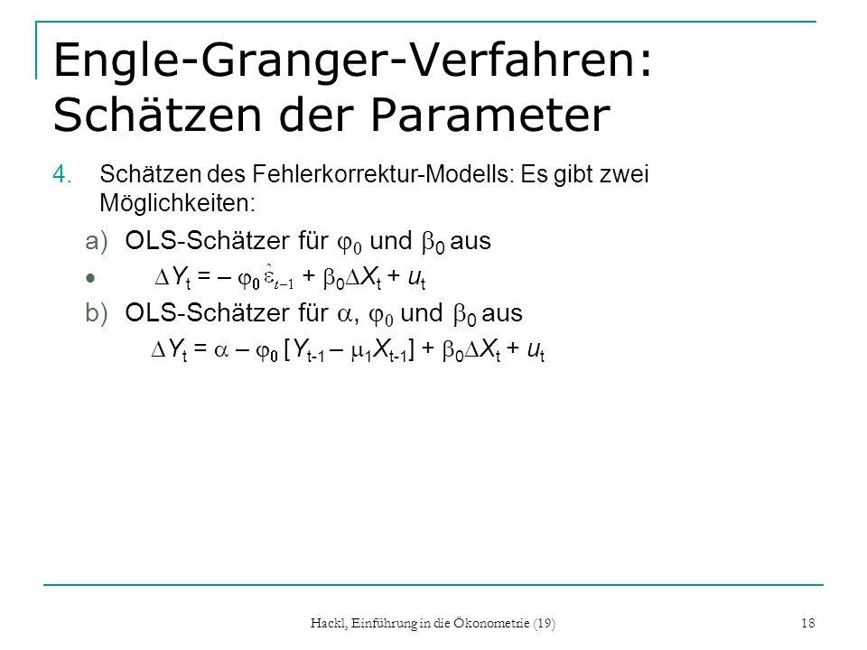 Engle-Granger-Verfahren: Schätzen der Parameter