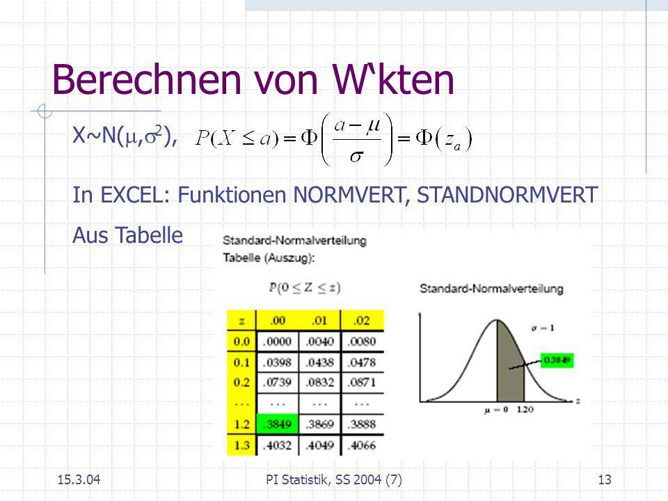 Berechnen von W'kten X~N(m,s2),