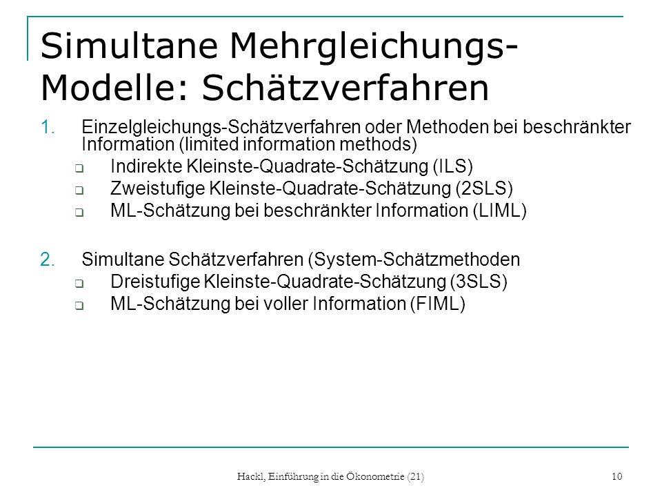 Simultane Mehrgleichungs-Modelle: Schätzverfahren