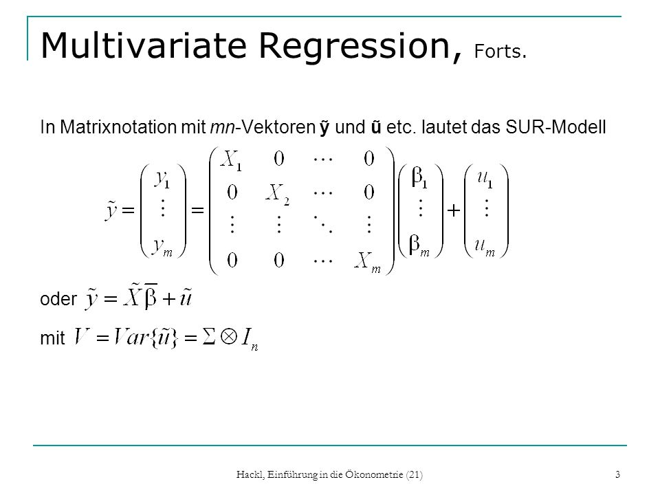 Multivariate Regression, Forts.