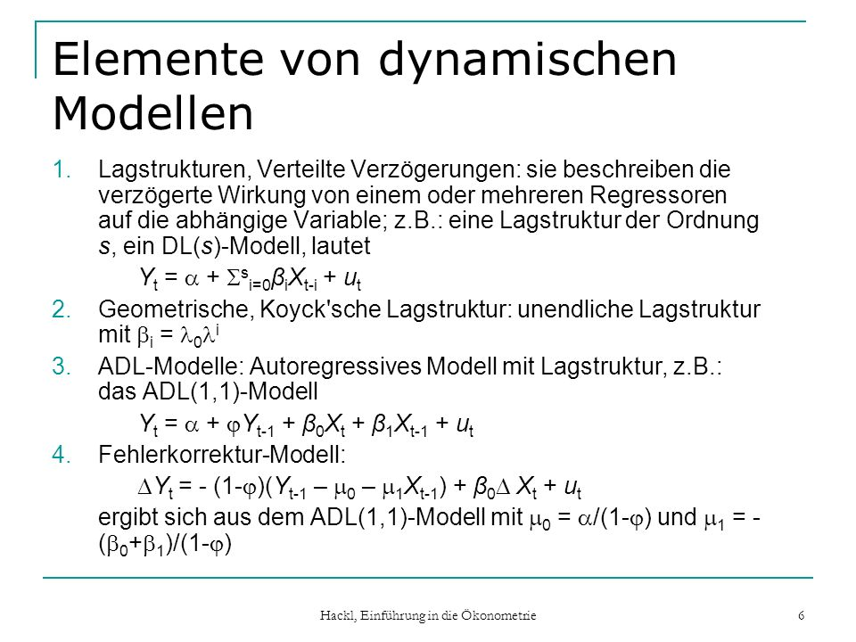 Elemente von dynamischen Modellen