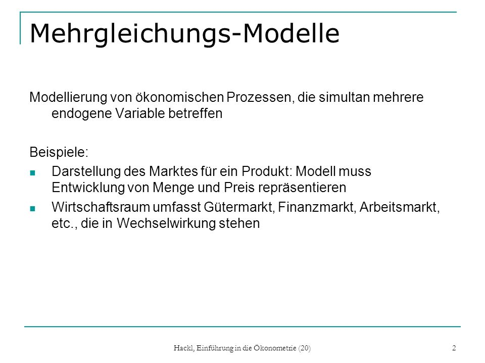 Mehrgleichungs-Modelle
