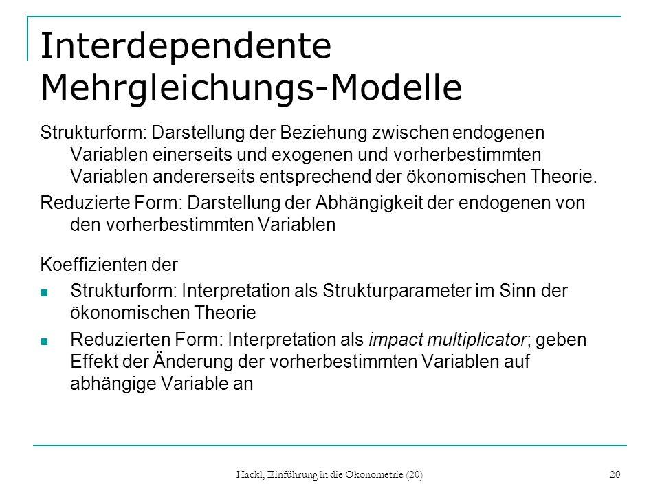 Interdependente Mehrgleichungs-Modelle