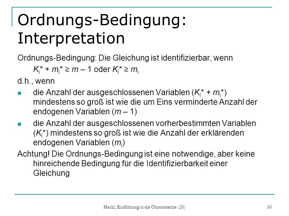 Ordnungs-Bedingung: Interpretation