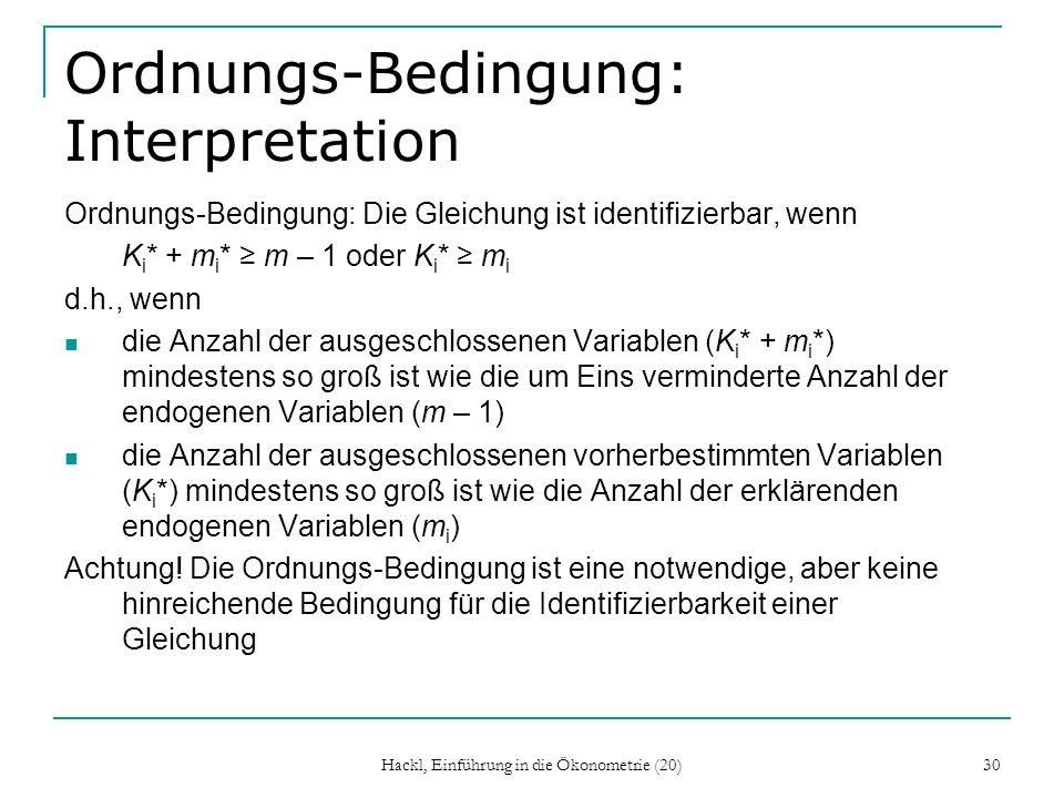 Ordnungs-Bedingung: Interpretation