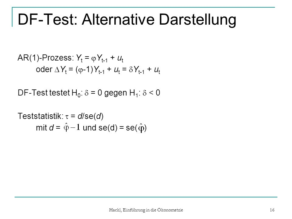 DF-Test: Alternative Darstellung