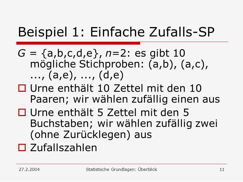 Beispiel 1: Einfache Zufalls-SP
