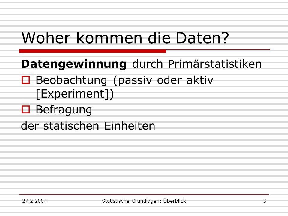 Statistische Grundlagen: Überblick
