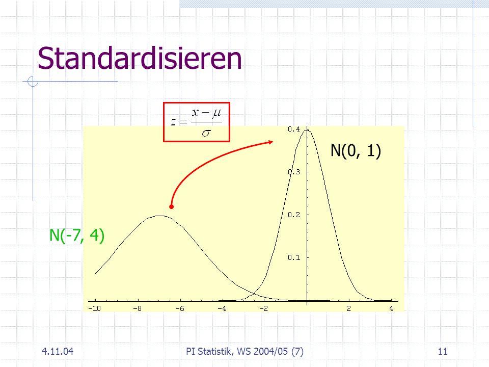 Standardisieren N(0, 1) N(-7, 4) 4.11.04 PI Statistik, WS 2004/05 (7)