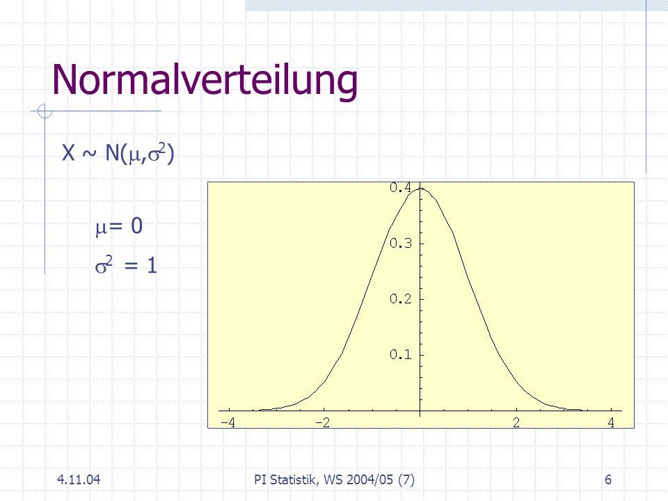 Normalverteilung X ~ N(m,s2) = 0 s2 = 1 4.11.04