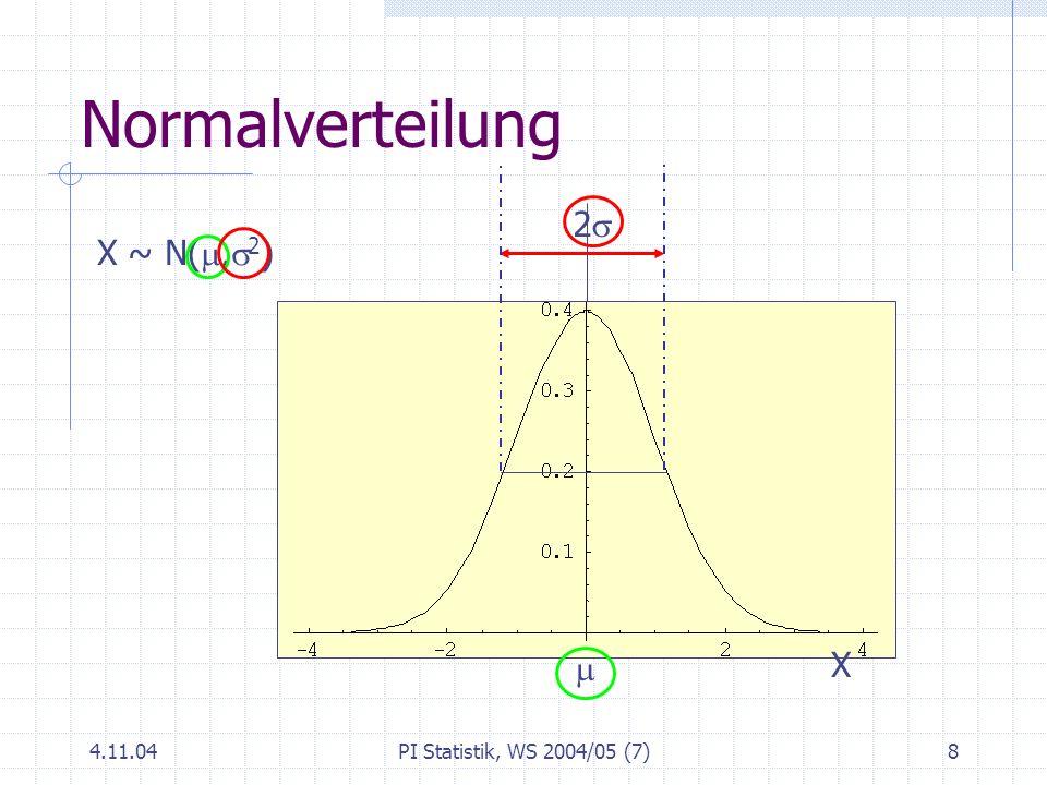 Normalverteilung 2s X ~ N(m,s2)  X 4.11.04