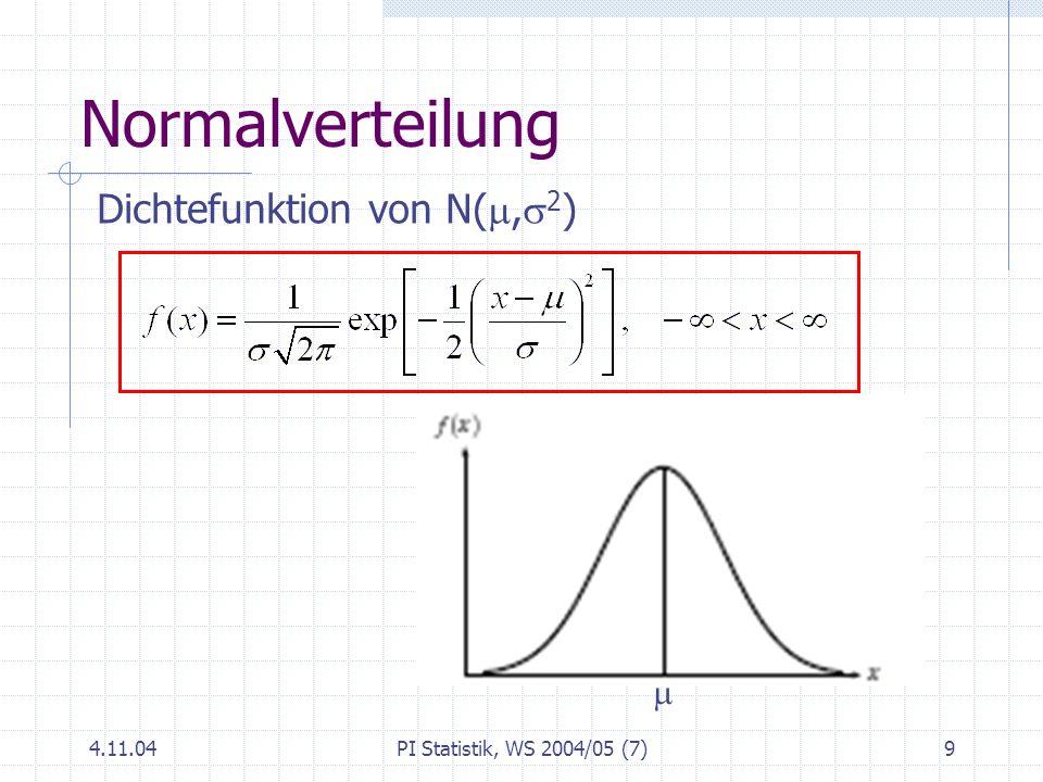 Normalverteilung Dichtefunktion von N(m,s2) m 4.11.04