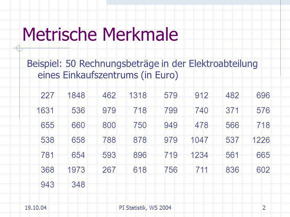 Metrische Merkmale Beispiel: 50 Rechnungsbeträge in der Elektroabteilung eines Einkaufszentrums (in Euro)