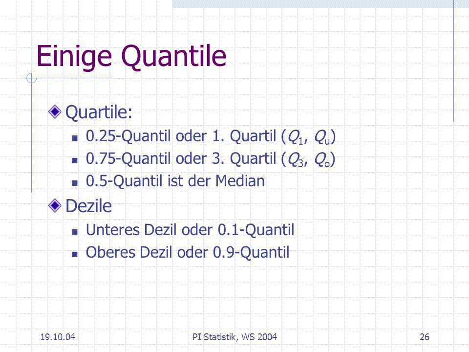 Einige Quantile Quartile: Dezile 0.25-Quantil oder 1. Quartil (Q1, Qu)