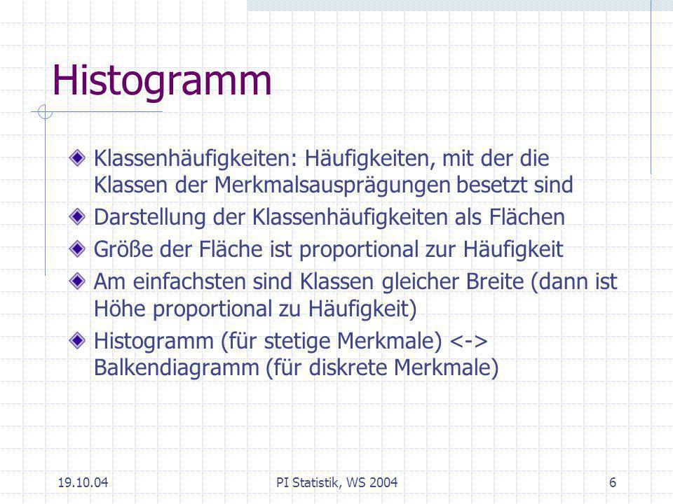HistogrammKlassenhäufigkeiten: Häufigkeiten, mit der die Klassen der Merkmalsausprägungen besetzt sind.