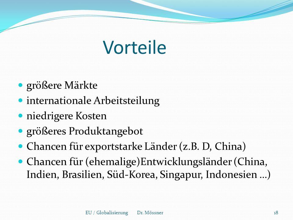 Vorteile größere Märkte internationale Arbeitsteilung