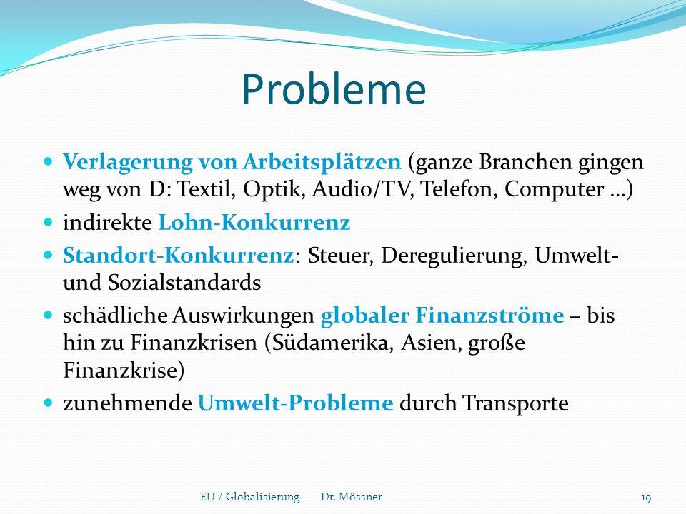 Probleme Verlagerung von Arbeitsplätzen (ganze Branchen gingen weg von D: Textil, Optik, Audio/TV, Telefon, Computer …)