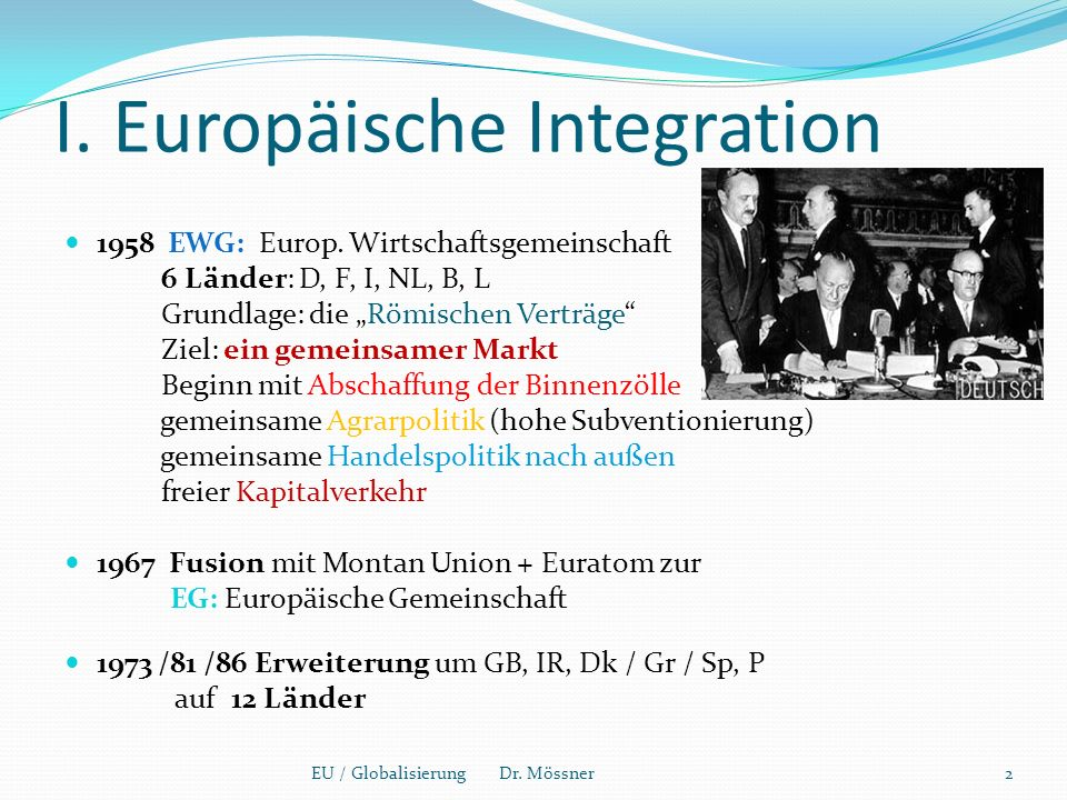 I. Europäische Integration