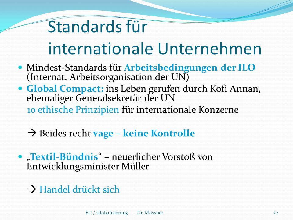 Standards für internationale Unternehmen