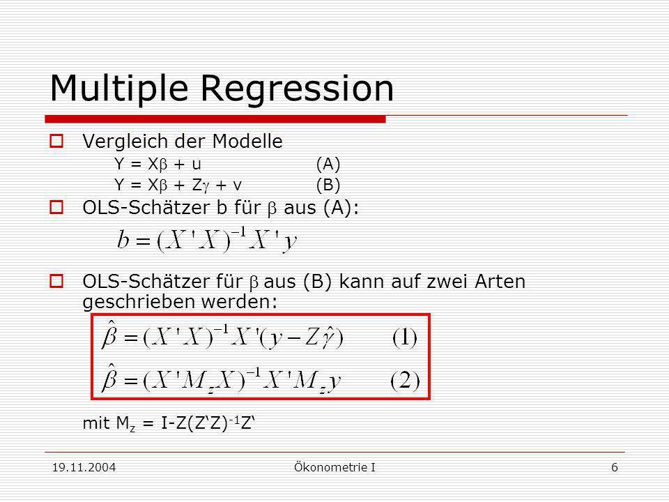 Multiple Regression Vergleich der Modelle