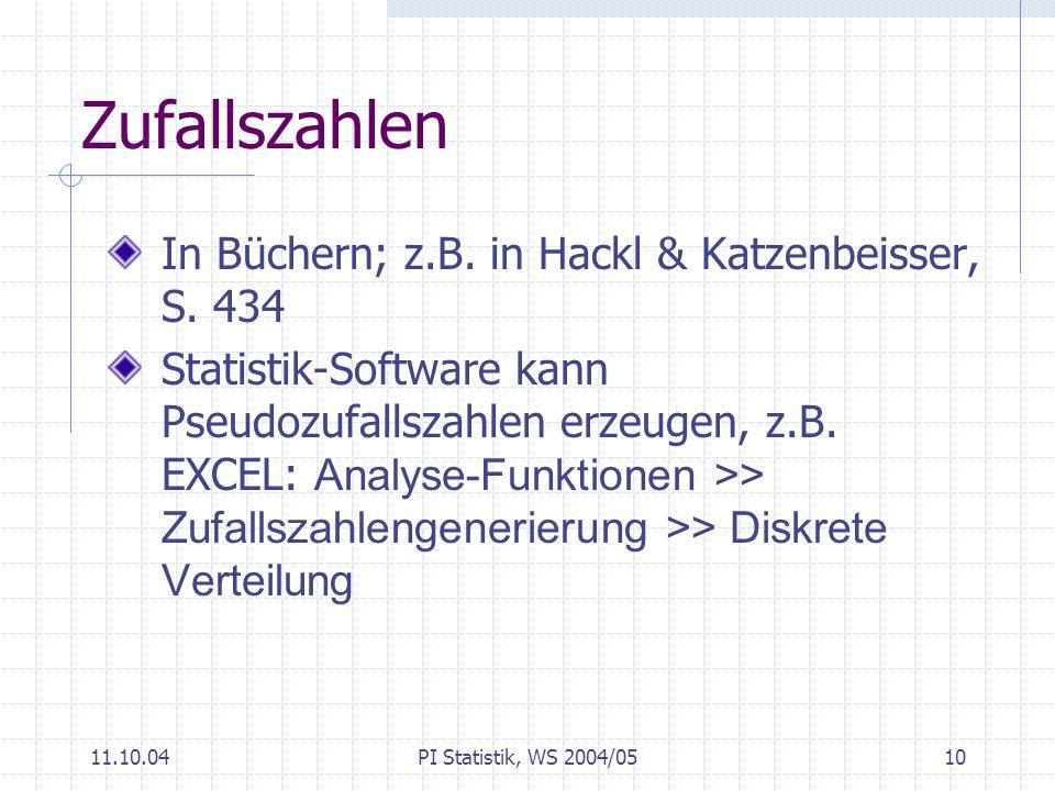 Zufallszahlen In Büchern; z.B. in Hackl & Katzenbeisser, S. 434