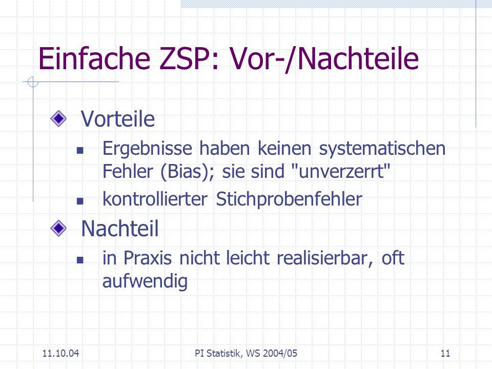 Einfache ZSP: Vor-/Nachteile