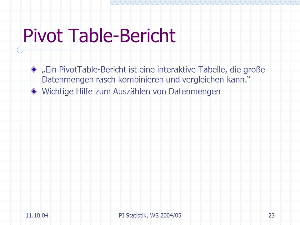 """Pivot Table-Bericht """"Ein PivotTable-Bericht ist eine interaktive Tabelle, die große Datenmengen rasch kombinieren und vergleichen kann."""