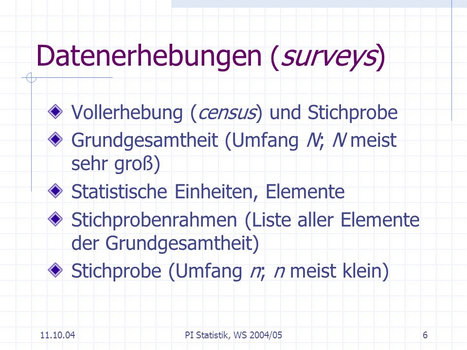 Datenerhebungen (surveys)