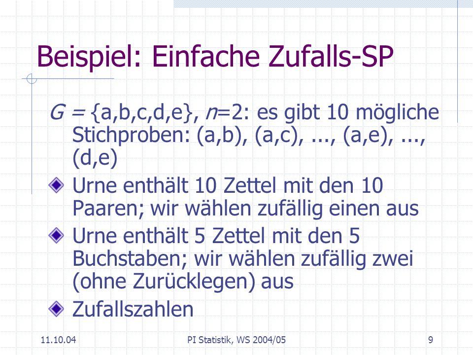 Beispiel: Einfache Zufalls-SP