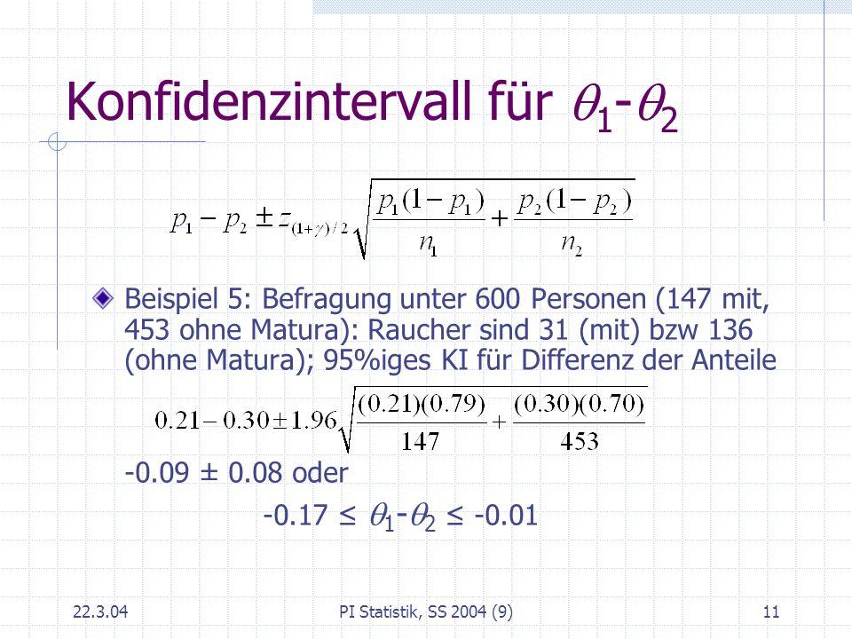 Konfidenzintervall für q1-q2