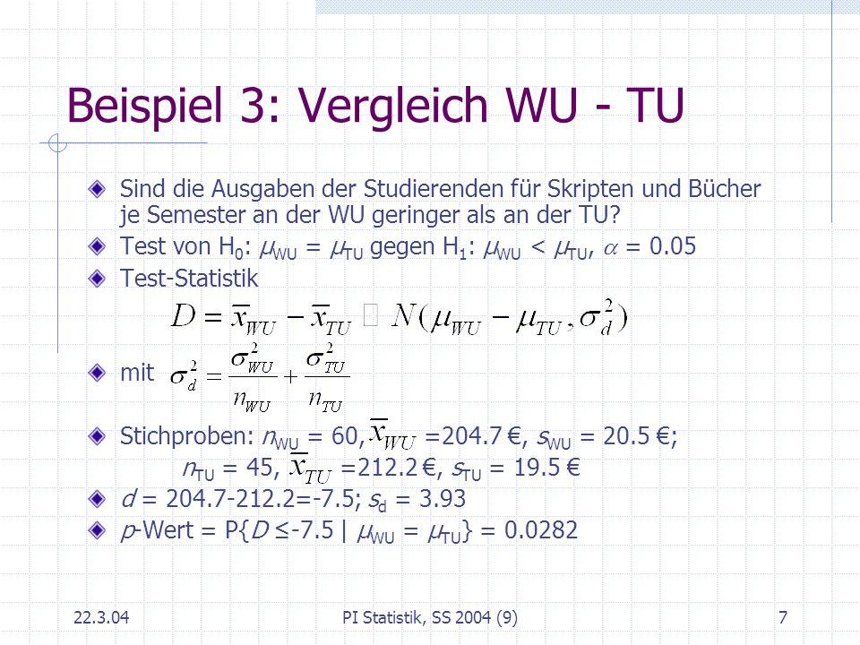 Beispiel 3: Vergleich WU - TU