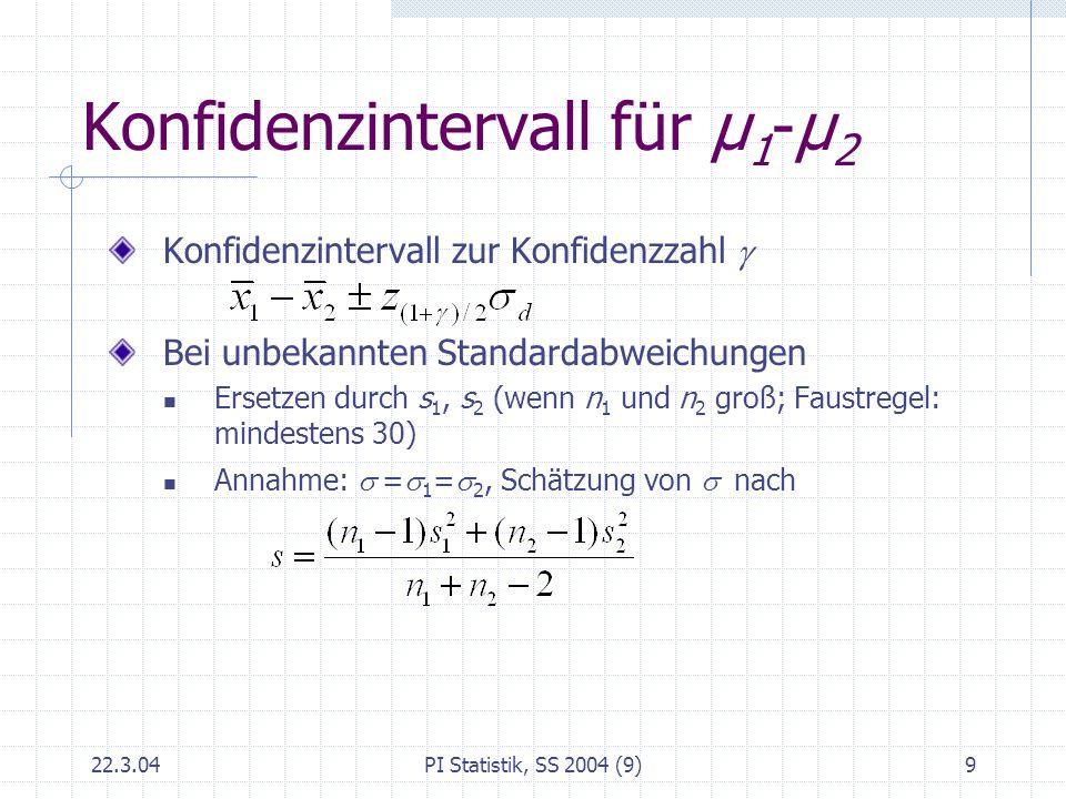 Konfidenzintervall für μ1-μ2