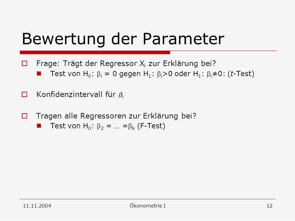 Bewertung der Parameter