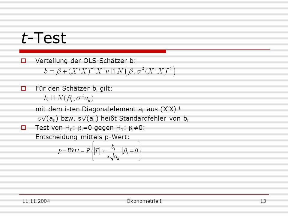 t-Test mit dem i-ten Diagonalelement aii aus (X'X)-1