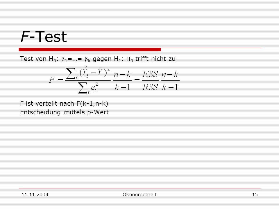 F-Test Test von H0: b1=…= bk gegen H1: H0 trifft nicht zu