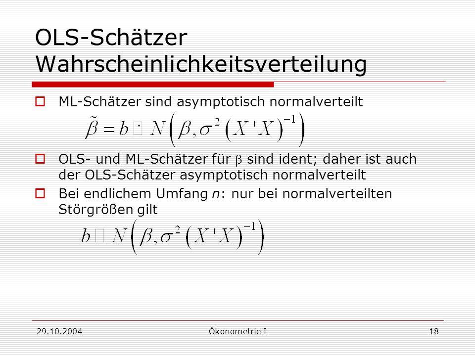 OLS-Schätzer Wahrscheinlichkeitsverteilung