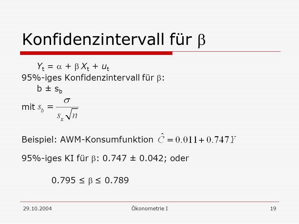 Konfidenzintervall für b